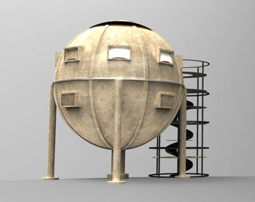render of ekinoid spherical housing model