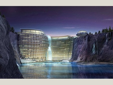 view of propose 'underground hotel' - build into a cliff