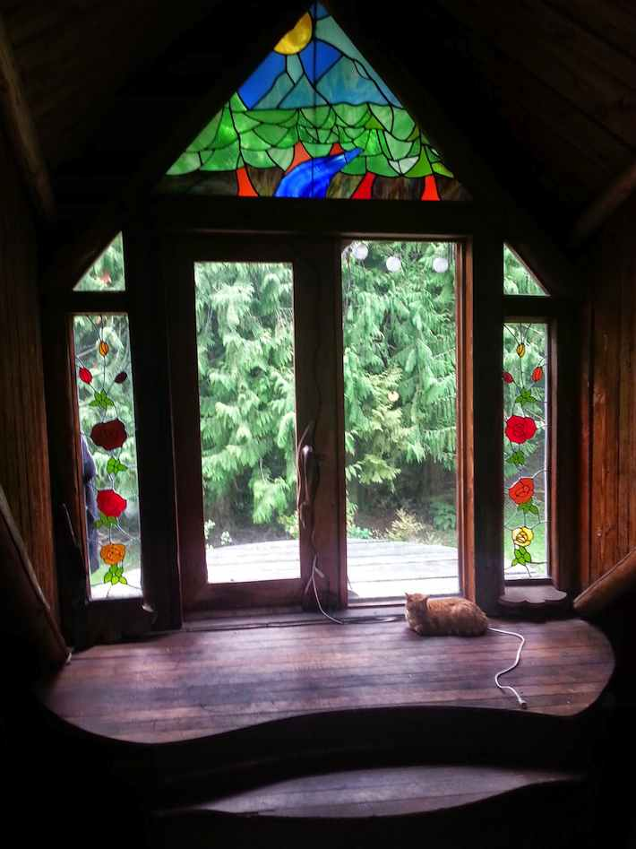 glass doorway with stained glass and a resting cat