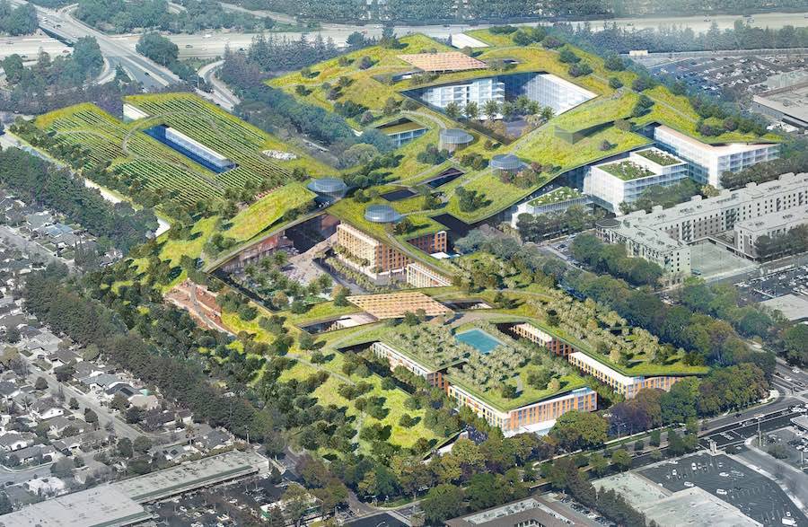 image rendering of proposed green roof spanning multiple buildings